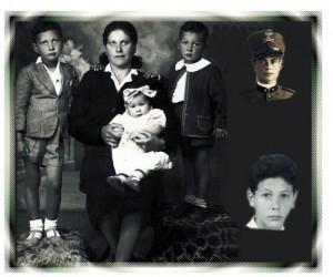 Foto del 1943, ritrae Rosa Maroni con i propri figli Azzerone, Angelo e Rossana, questa foto fu inviata da Rosa Maroni al marito Savino MARCHETTI impegnato in guerra, sul fronte della