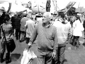 """Foto del 2008, lavori della Metro C, sullo sfondo si intravede la """"talpa meccanica"""" che scaverà in direzione centro cittadino fino al Colosseo, in primo piano è ritratto Giovanni CHECCONI, anche lui è tra i più """"vecchi"""" di Giardinetti"""